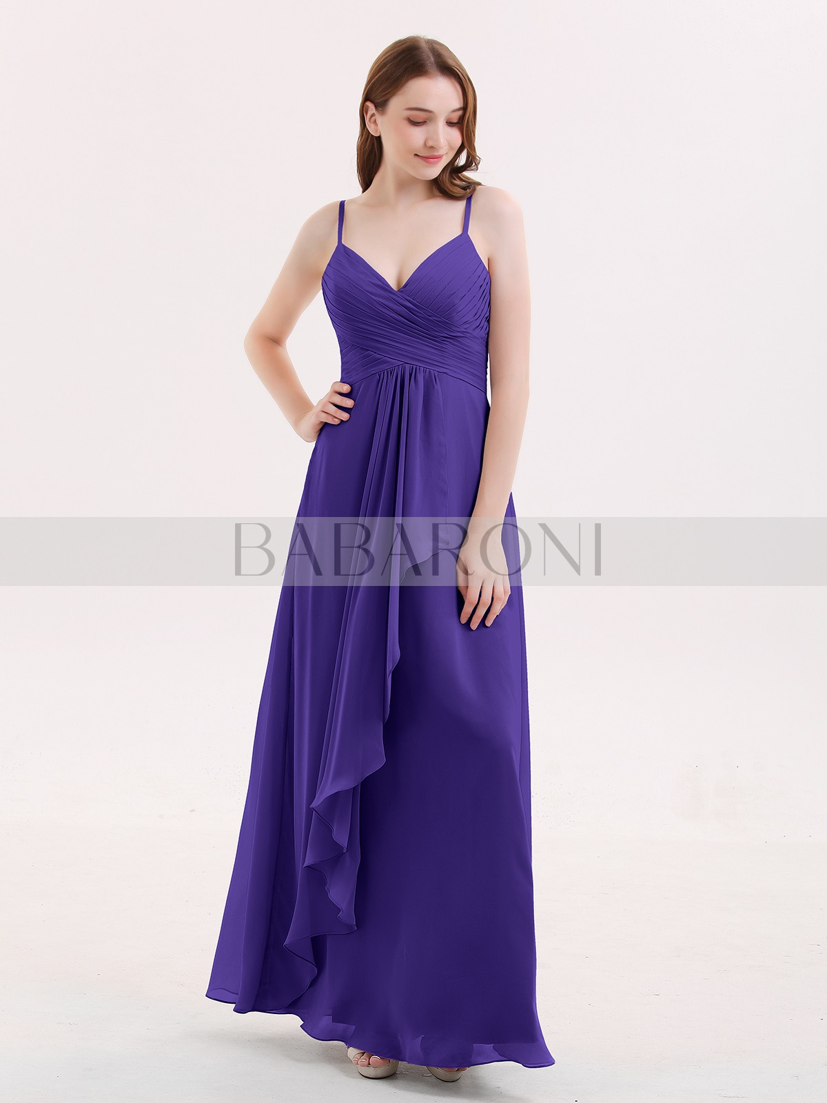 93a382f0d21 Home · Bridesmaid Dresses  Babaroni Octavia. Empire Chiffon Dusty Blue  Zipper Ruched