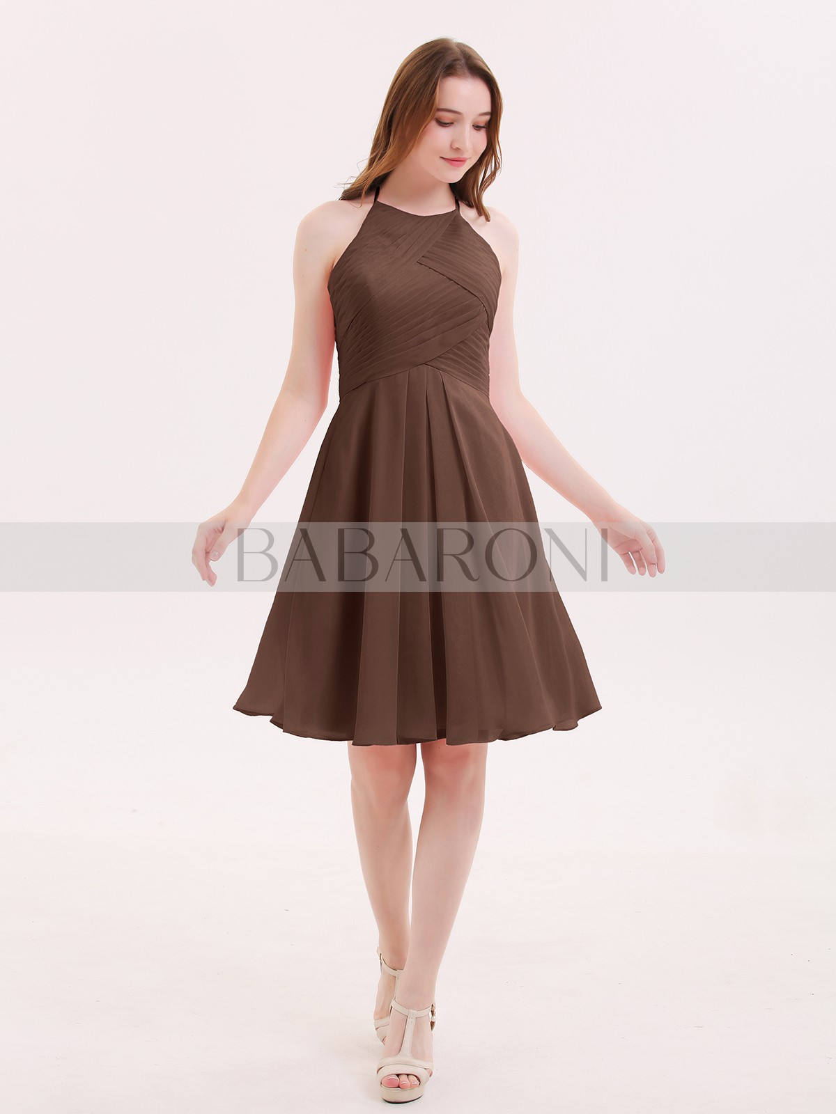 bdd7c0815f4 Chocolate Olga Short Chiffon Bridesmaid Dress with Pocket