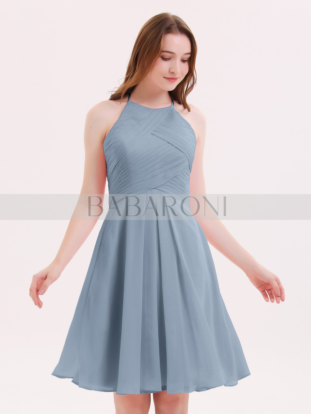 ede639d4ca9 Dusty Blue Olga Short Chiffon Bridesmaid Dress with Pocket