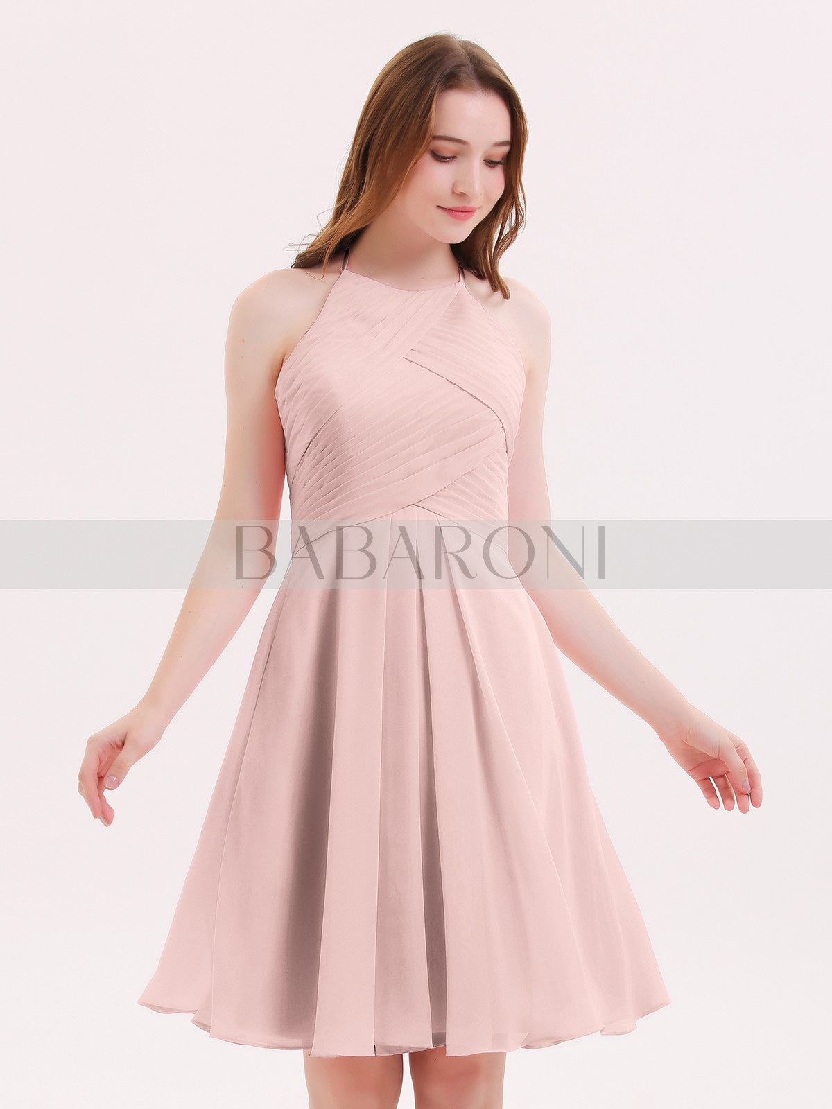 188bc16a113 A-line Chiffon Azalea Zipper Pleated Knee-length Halter Sleeveless Bridesmaid  Dresses. Loading zoom