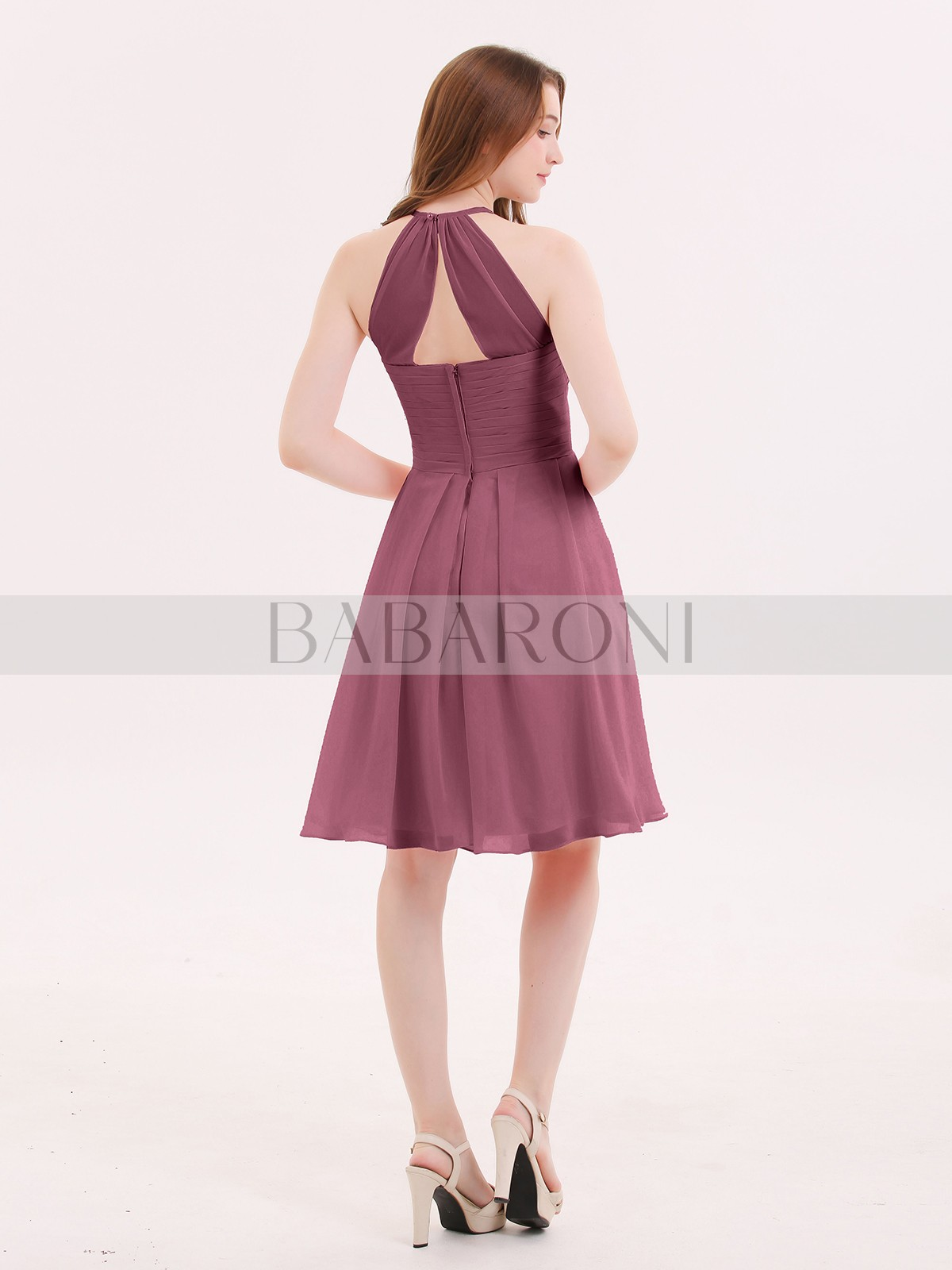 a3a2907f09c Mulberry Olga Short Chiffon Bridesmaid Dress with Pocket