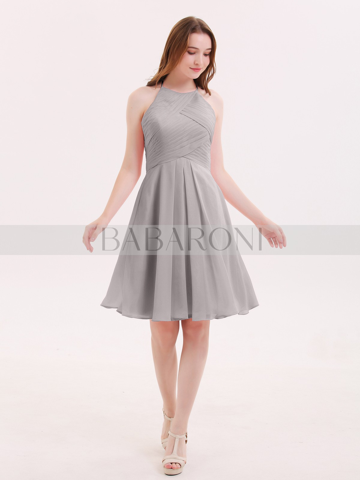 ecbde60df95 Silver Olga Short Chiffon Bridesmaid Dress with Pocket