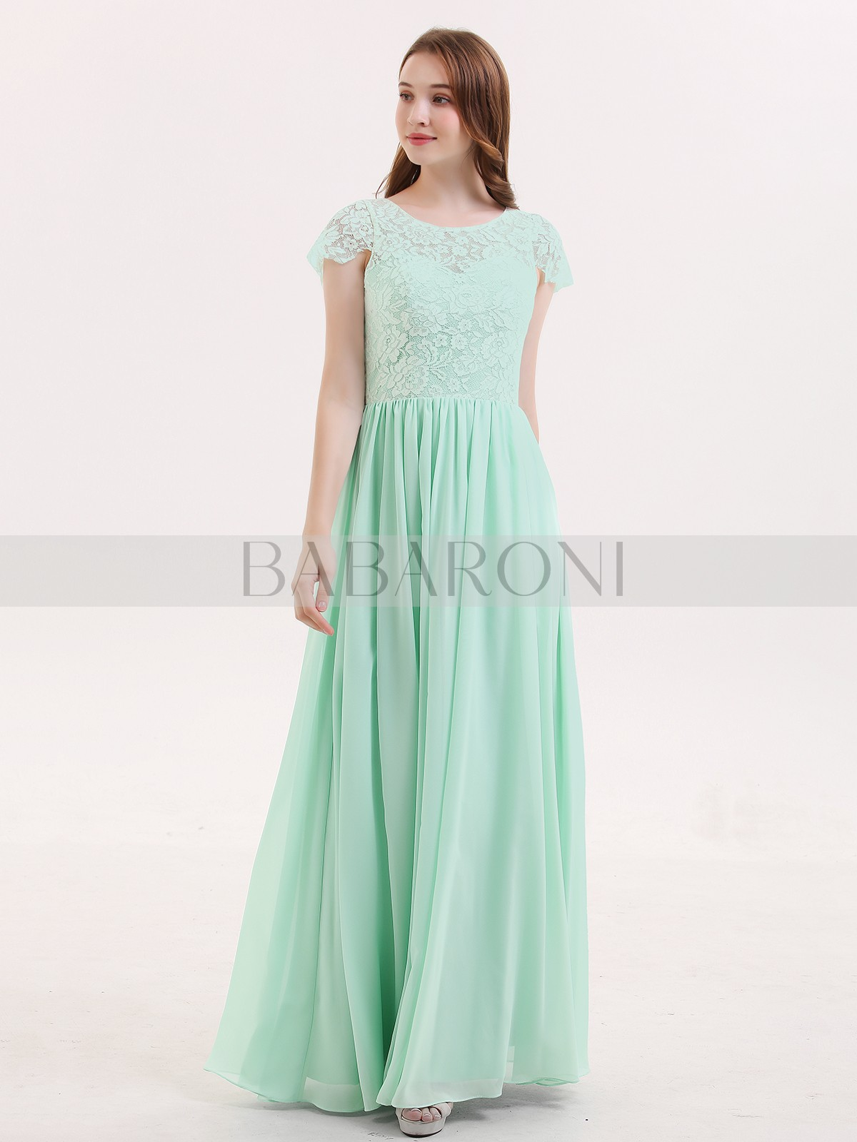 844d7a8f32f A-line Lace Mint Green Zipper Lace Floor-length Scoop Cap Sleeve Bridesmaid  Dresses. Loading zoom