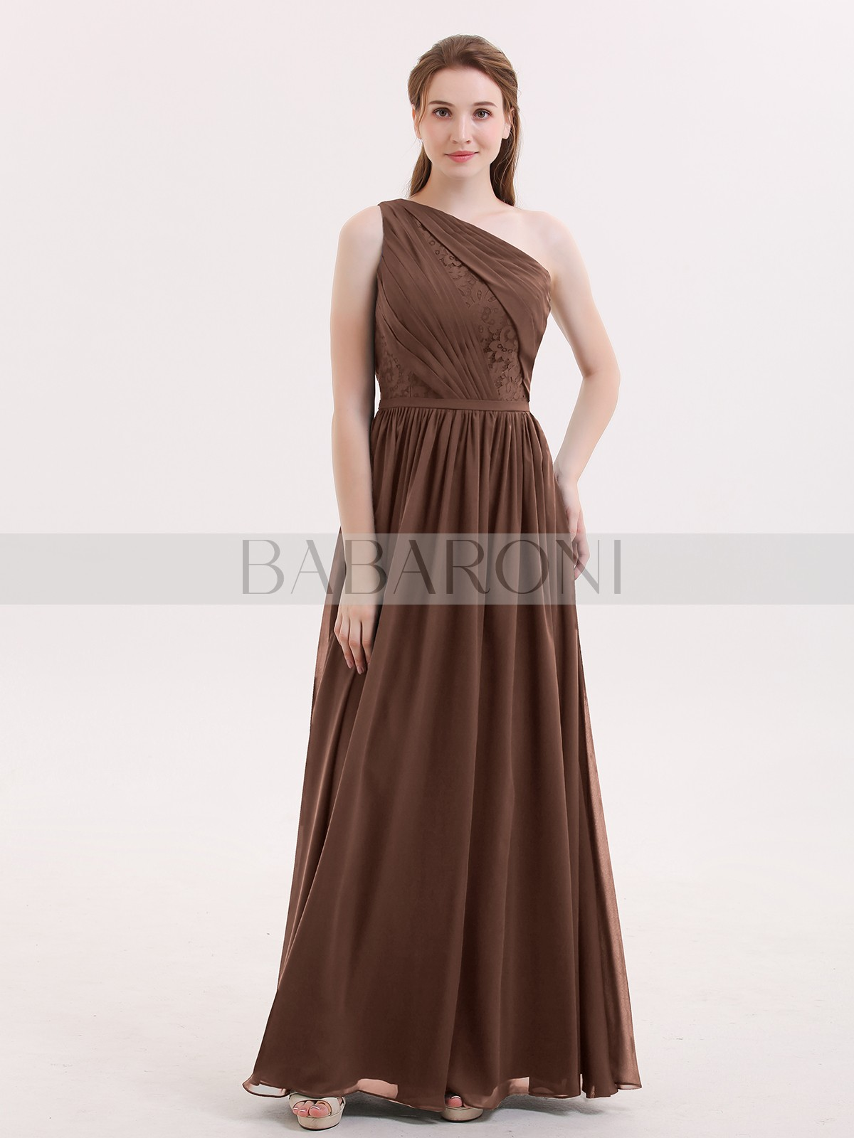 0a4bacbe3195 Chocolate Phoenix One Shoulder Chiffon and Lace Bridesmaid Dress ...