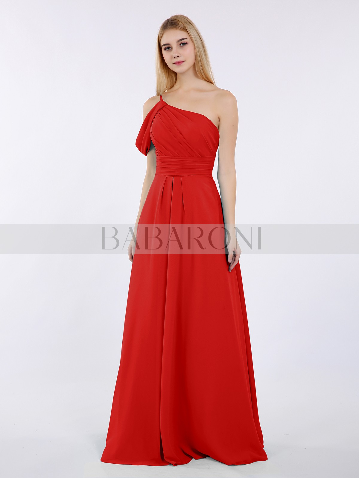 5ee710a3d88 A-line Chiffon Pool Zipper Side Ruched, Pleated Floor-length One Shoulder  Straps. Loading zoom