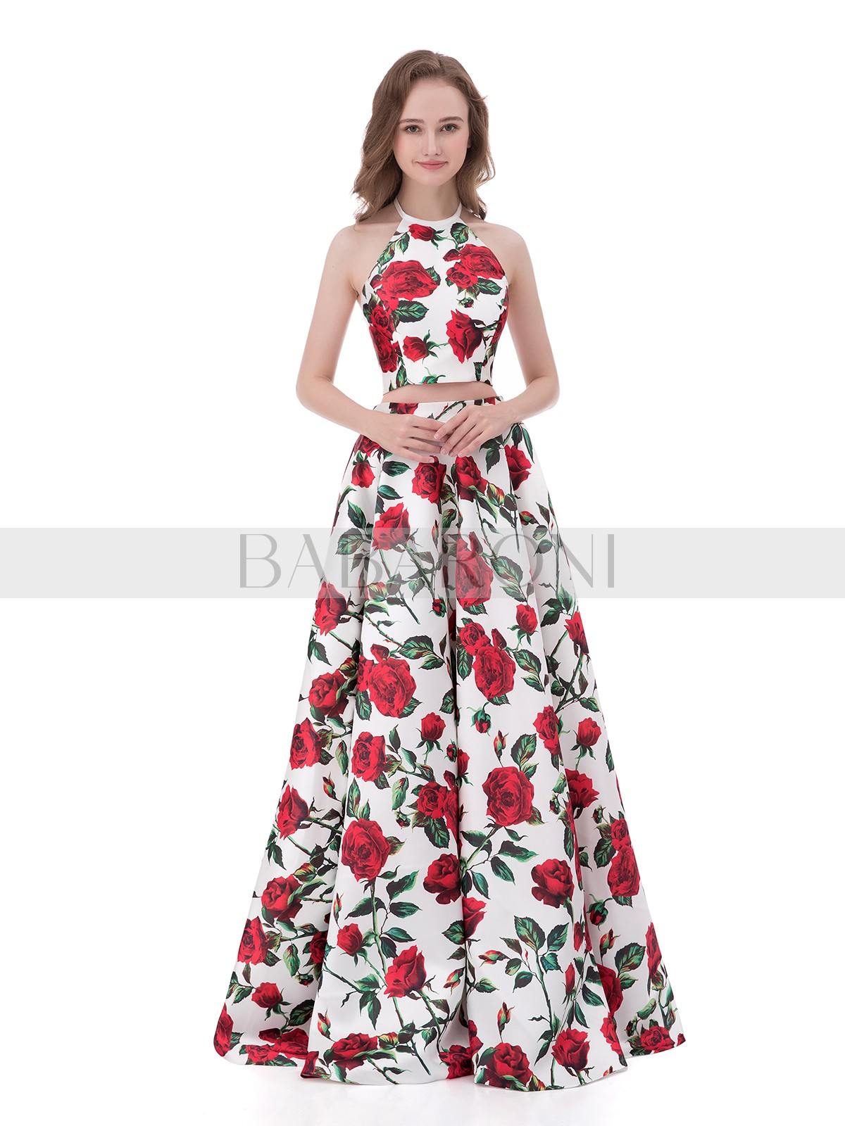 58a01821ce A-line Satin Floral Zipper Floral Floor-length Halter Sleeveless Two Piece  Prom Dresses. Loading zoom. floral  floral