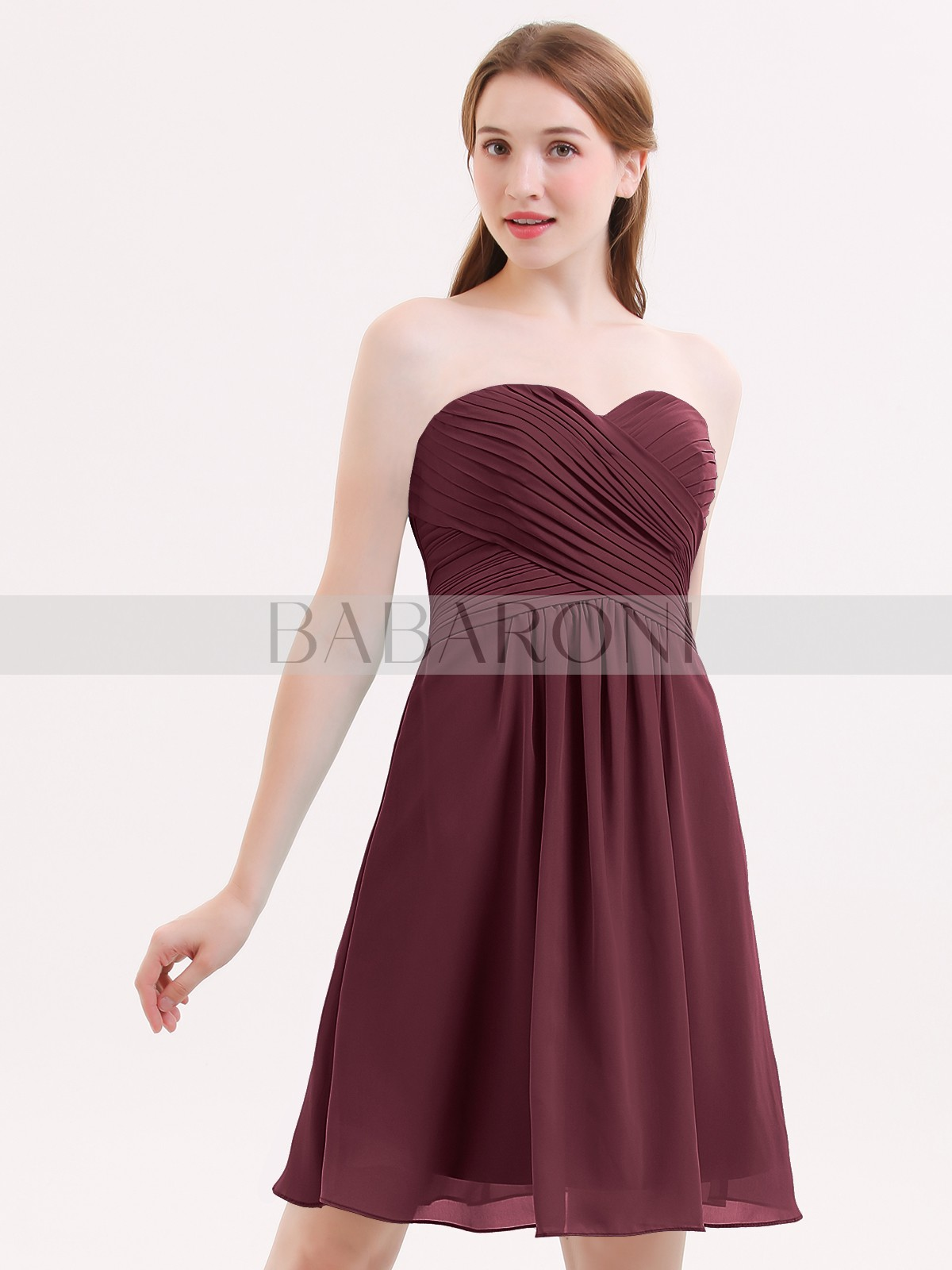 a5fefe6586d ... Short Bridesmaid Dresses  Babaroni Samantha. A-line Chiffon Cabernet  Zipper Ruched