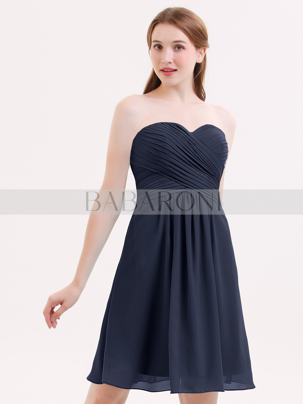 6423abcf174 Dark Navy Samantha Short Strapless Bridesmaid Dress with Sweetheart ...