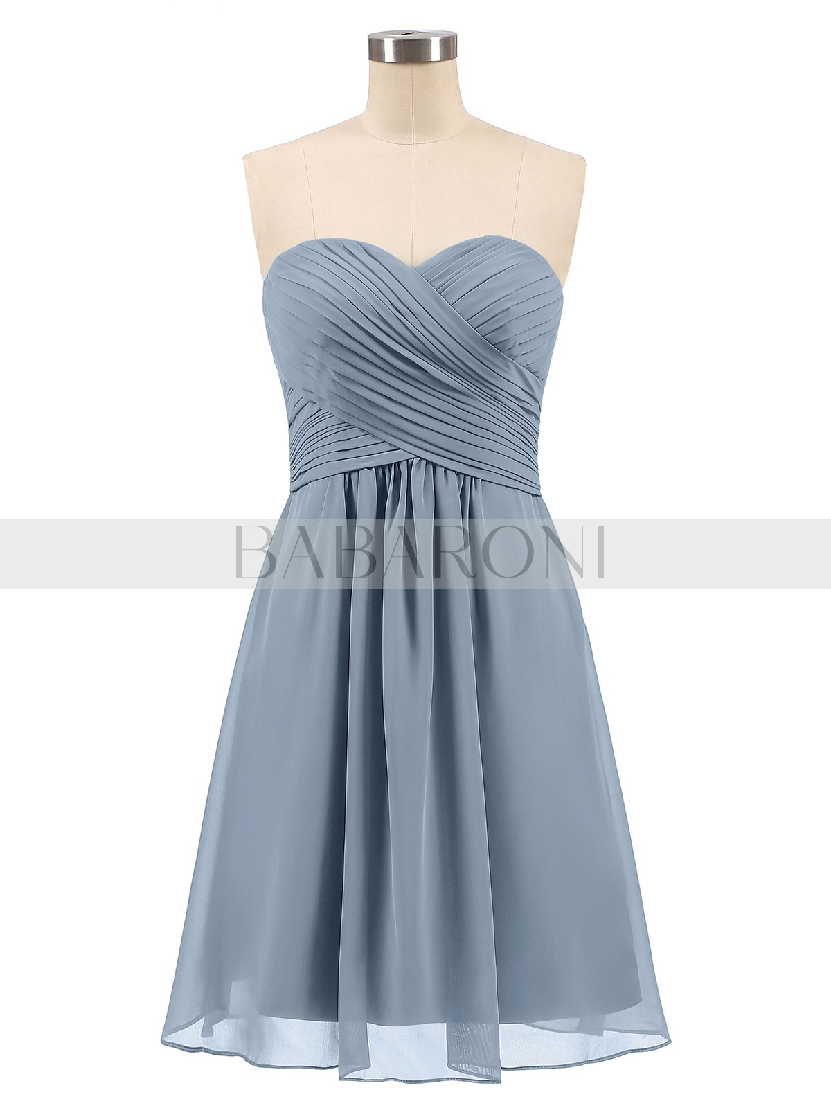 b19ea7e7294 Dusty Blue Samantha Short Strapless Bridesmaid Dress with Sweetheart ...