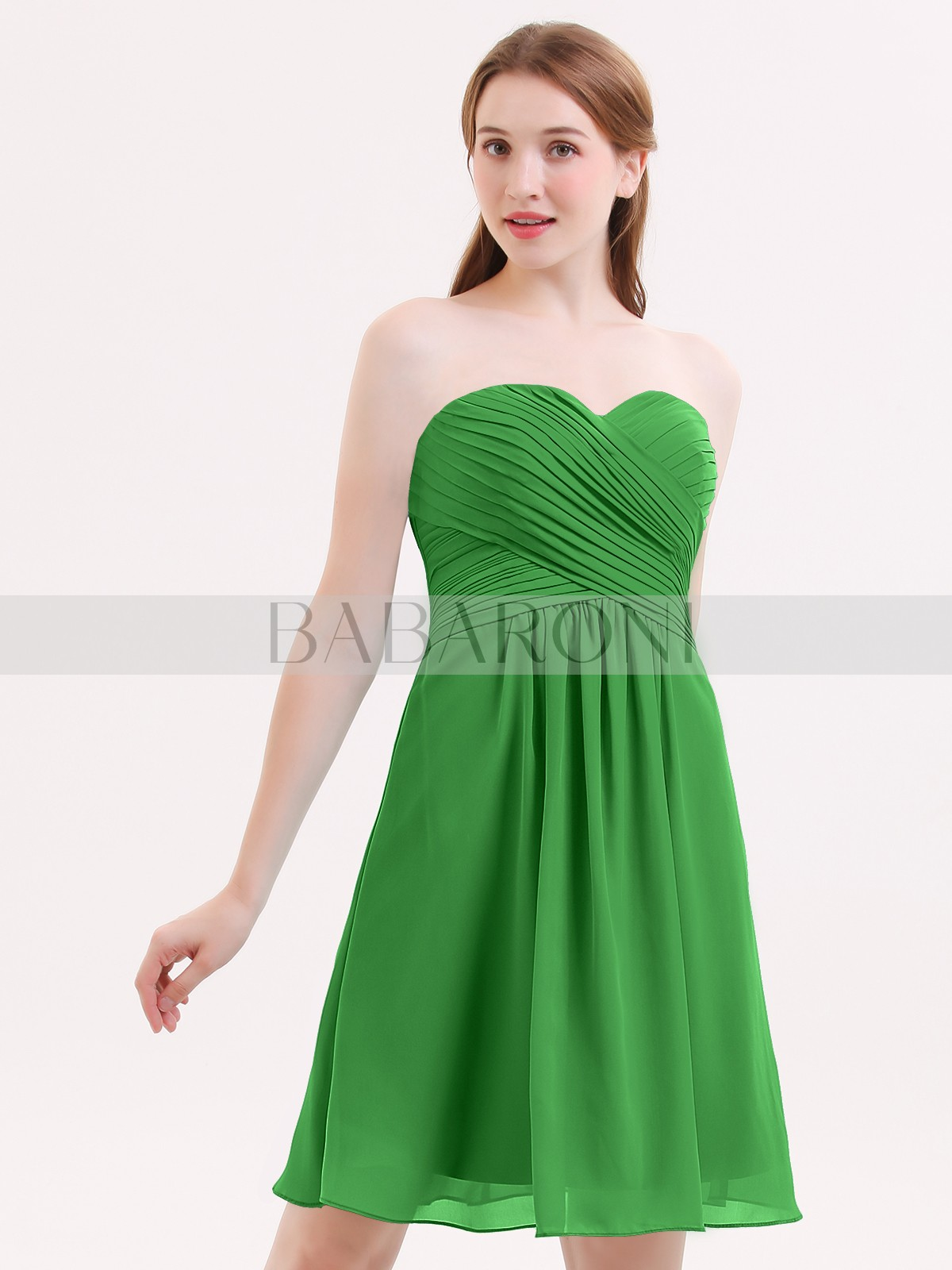 A Line Chiffon Cabernet Zipper Ruched Pleated Knee Length Sweetheart Sleeveless Bridesmaid Dresses Loading Zoom