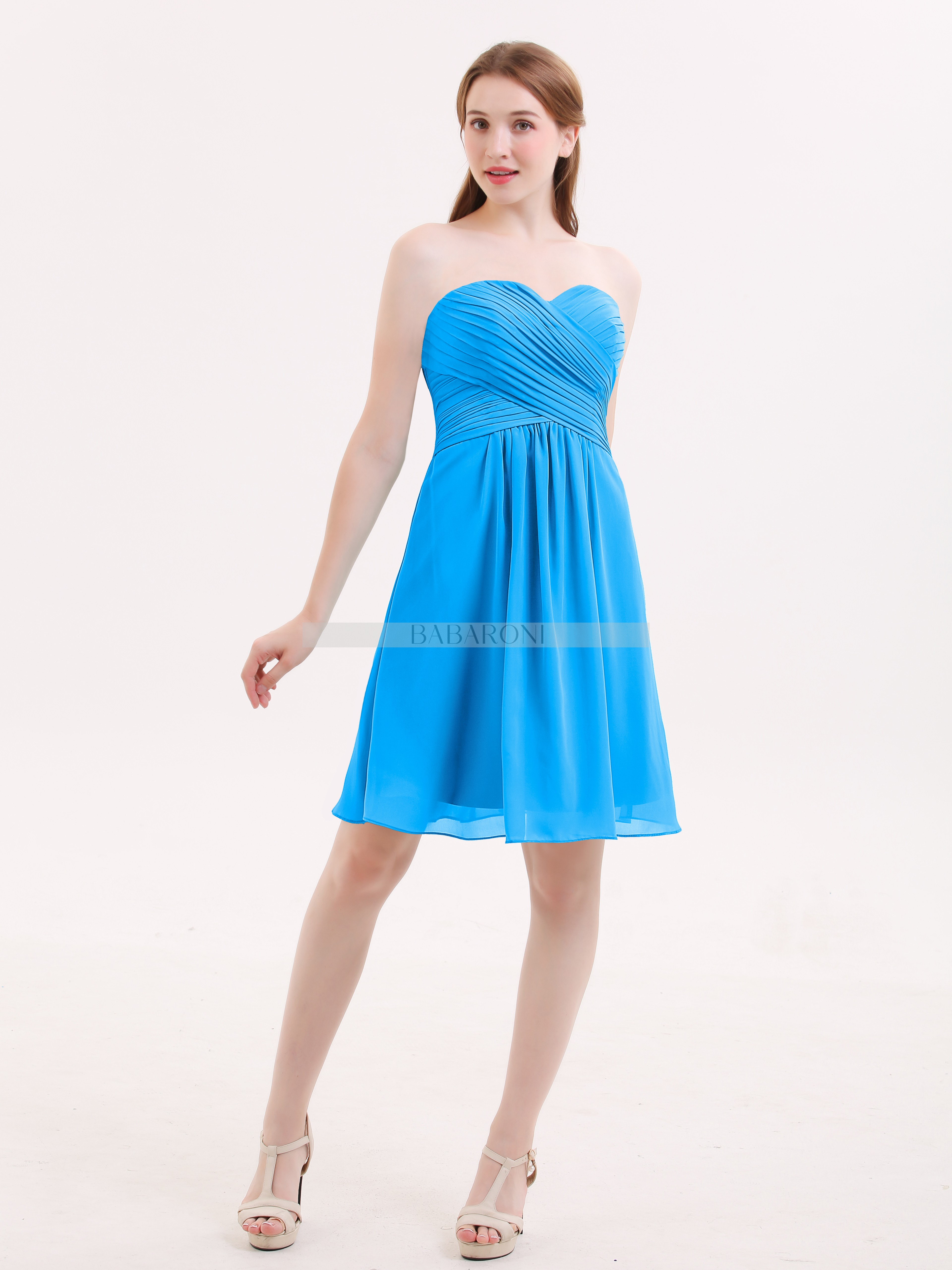 f9d5fe70432 Ocean Blue Samantha Short Strapless Bridesmaid Dress with Sweetheart ...