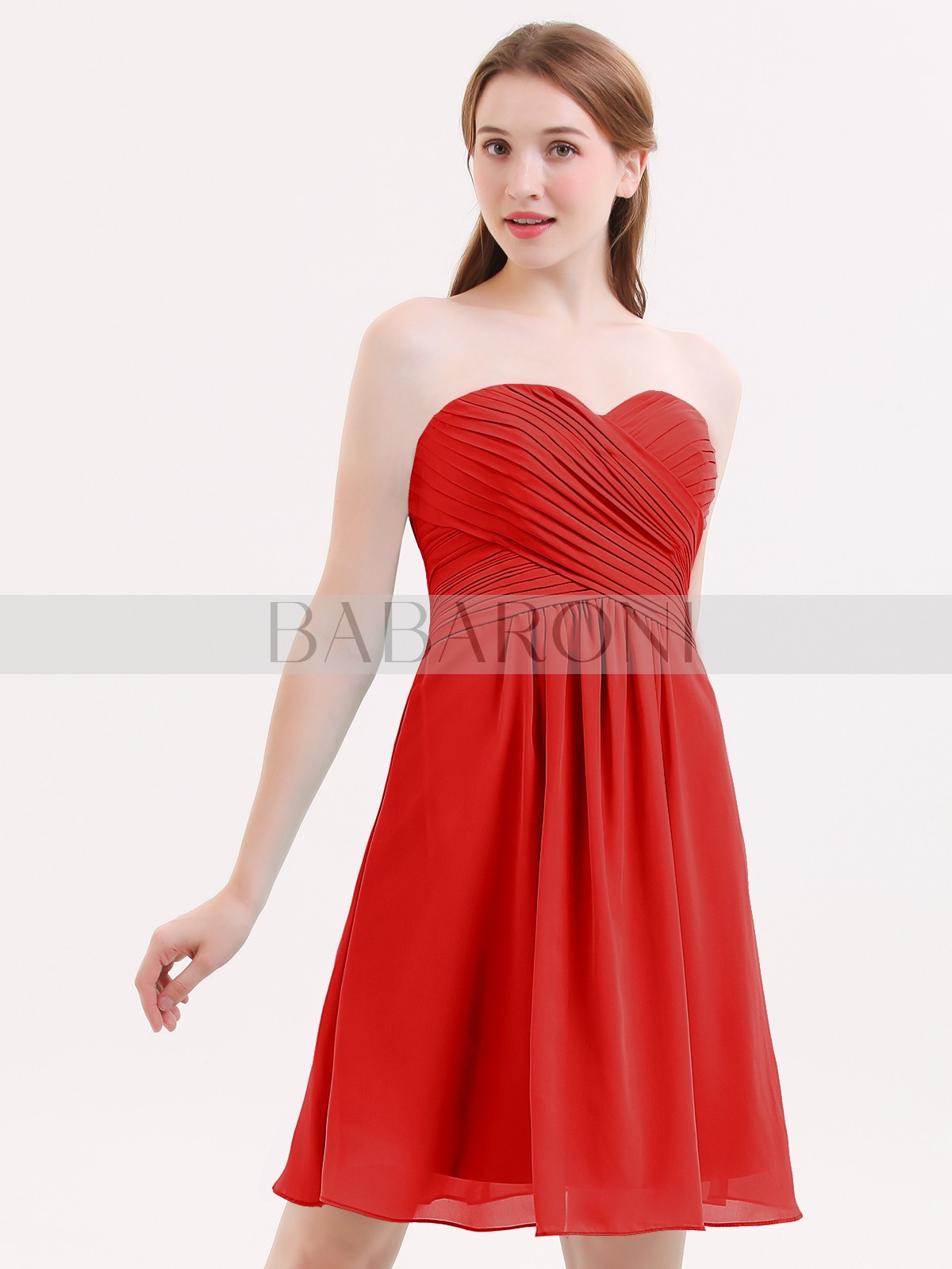 316cde8d302 Red Samantha Short Strapless Bridesmaid Dress with Sweetheart