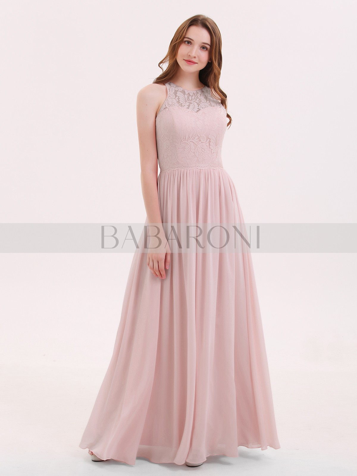 5a4d0c874cc Dusty Rose Suzanne Long Lace Dress with Illusion Sweetheart Neck ...