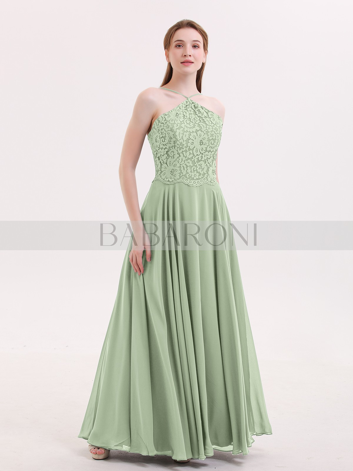763e2a2a86f27 A-line Chiffon Stormy Zipper Lace Floor-length Halter Spaghetti Straps Long  Bridesmaid Dresses. Loading zoom
