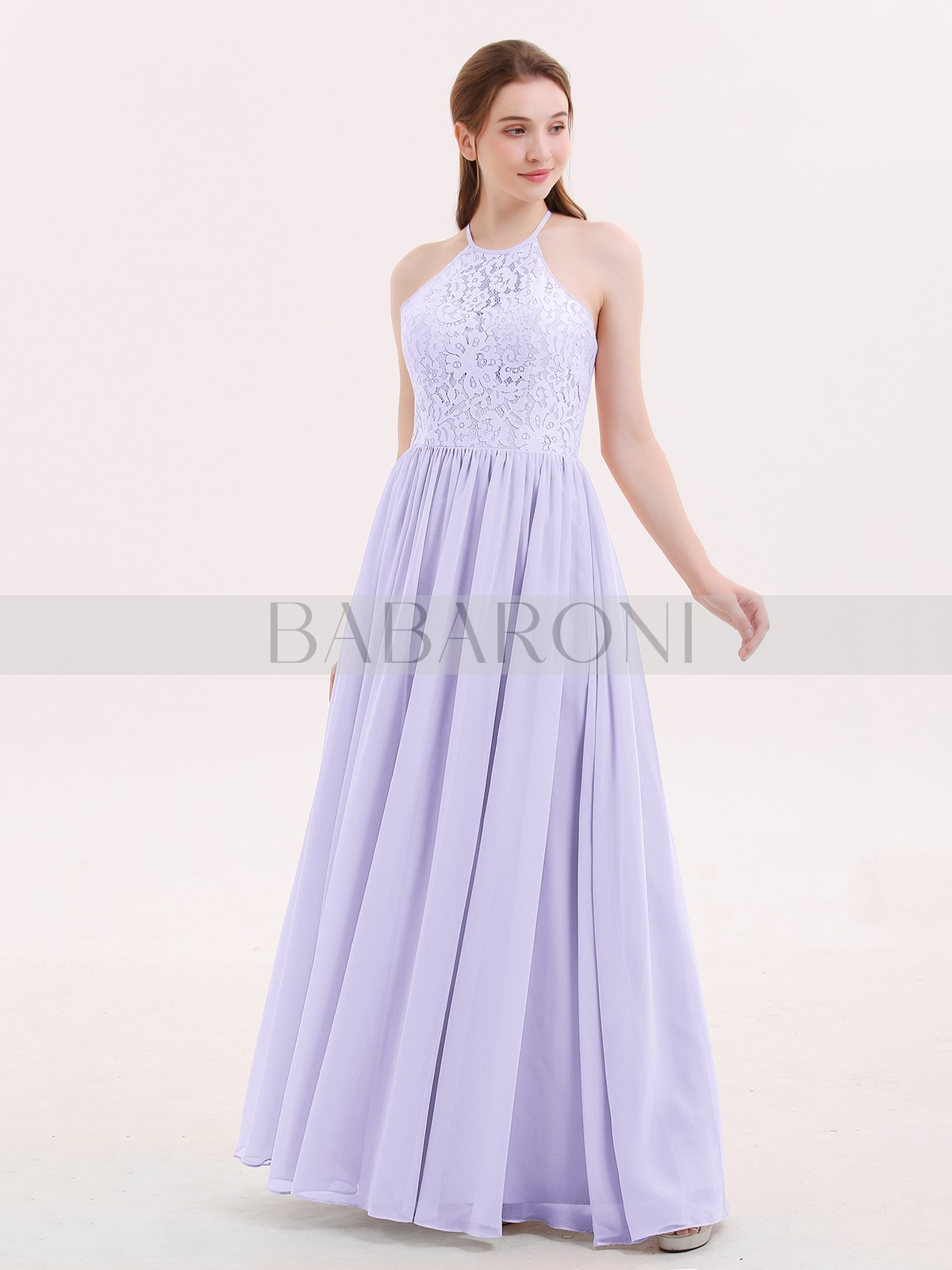 bed3398b6c ... Long Bridesmaid Dresses; Babaroni Theresa. A-line Chiffon Dusk  Criss-Cross Straps Lace, Ruched Floor-length Halter. Loading zoom