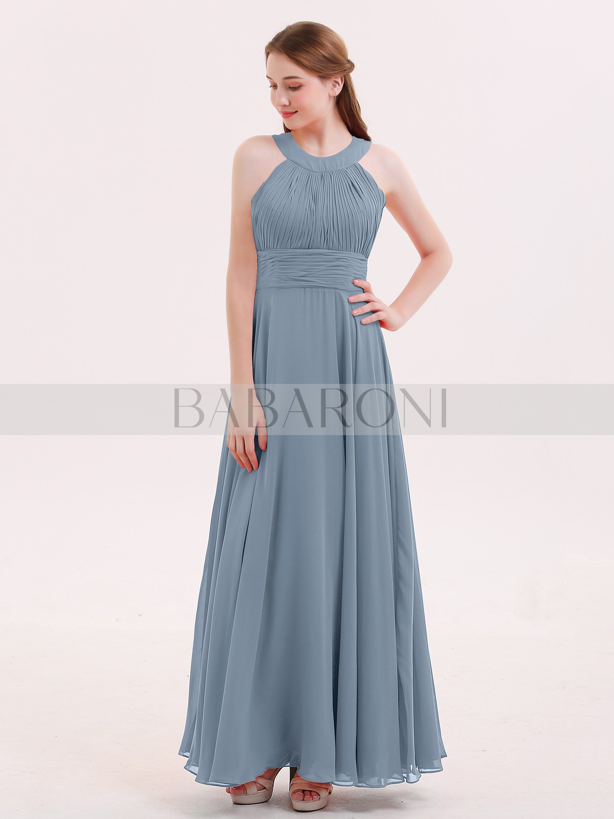 f04f9541b9e A-line Chiffon Red Zipper Pleated Floor-length Halter Sleeveless Bridesmaid  Dresses. Loading zoom