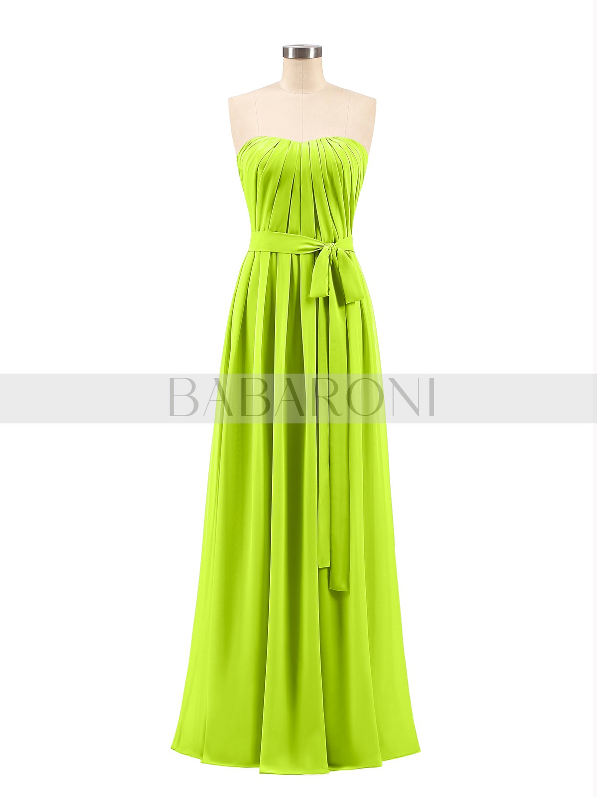 98832c8060d Lime Green Valentina Chiffon Strapless Bridesmaid Gown with Sash ...
