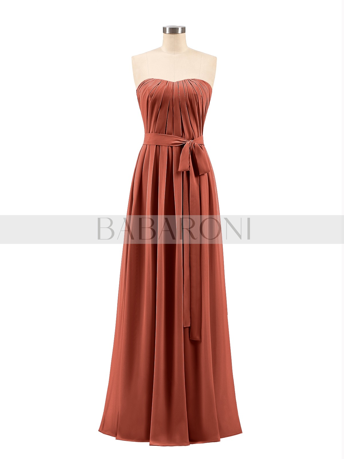 A Line Chiffon Mulberry Zipper Bow Ruched Floor Length Strapless Sleeveless Long Bridesmaid Loading Zoom