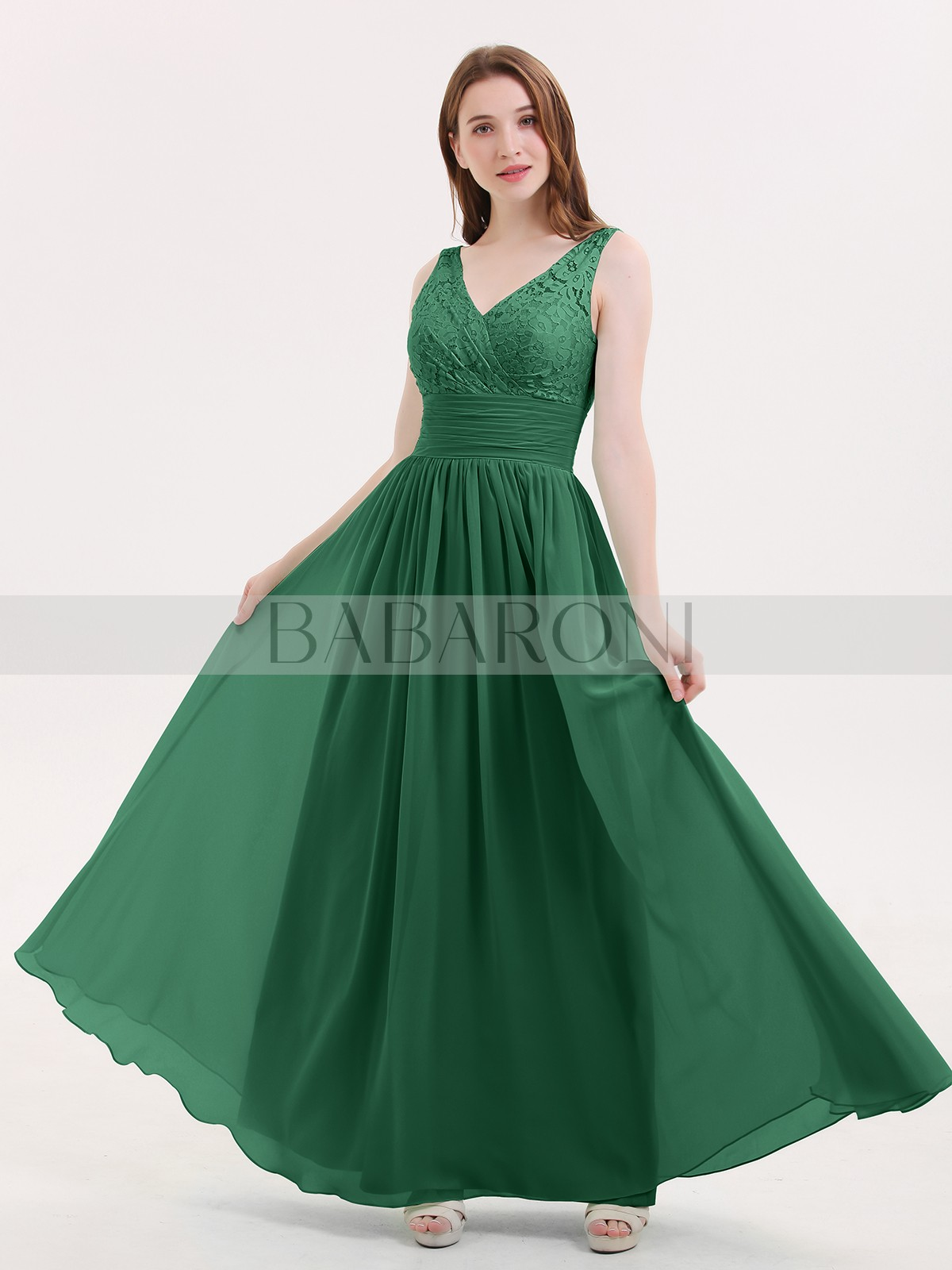 d8297a848fc A Line Chiffon Mint Green Zipper Lace Ruched Pleated Floor Length V Loading  Zoom