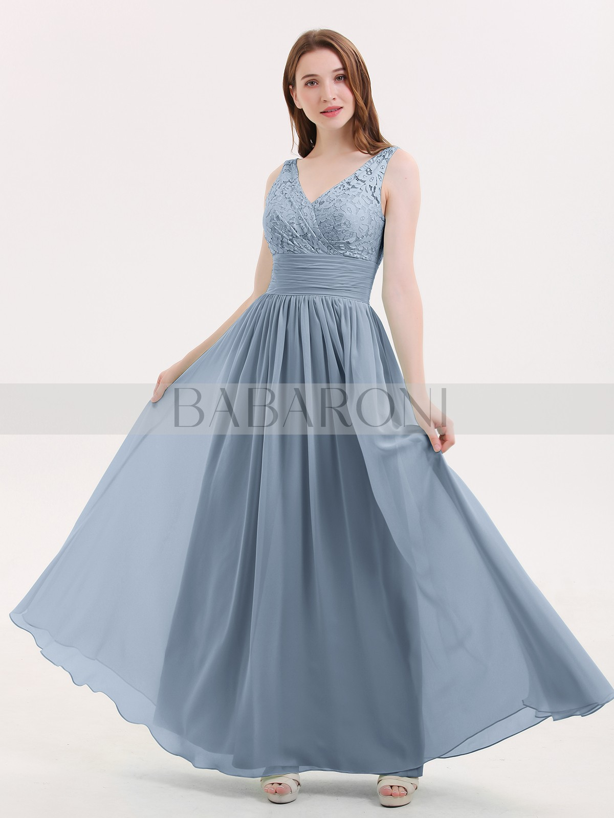 ea8473312498 A-line Chiffon Mint Green Zipper Lace, Ruched, Pleated Floor-length V.  Loading zoom