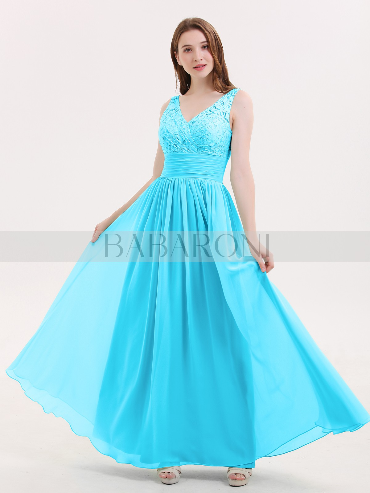 Long Bridesmaid Dresses Babaroni Valerie A Line Chiffon Mint Green Zipper Lace Ruched Pleated Floor Length V Loading Zoom