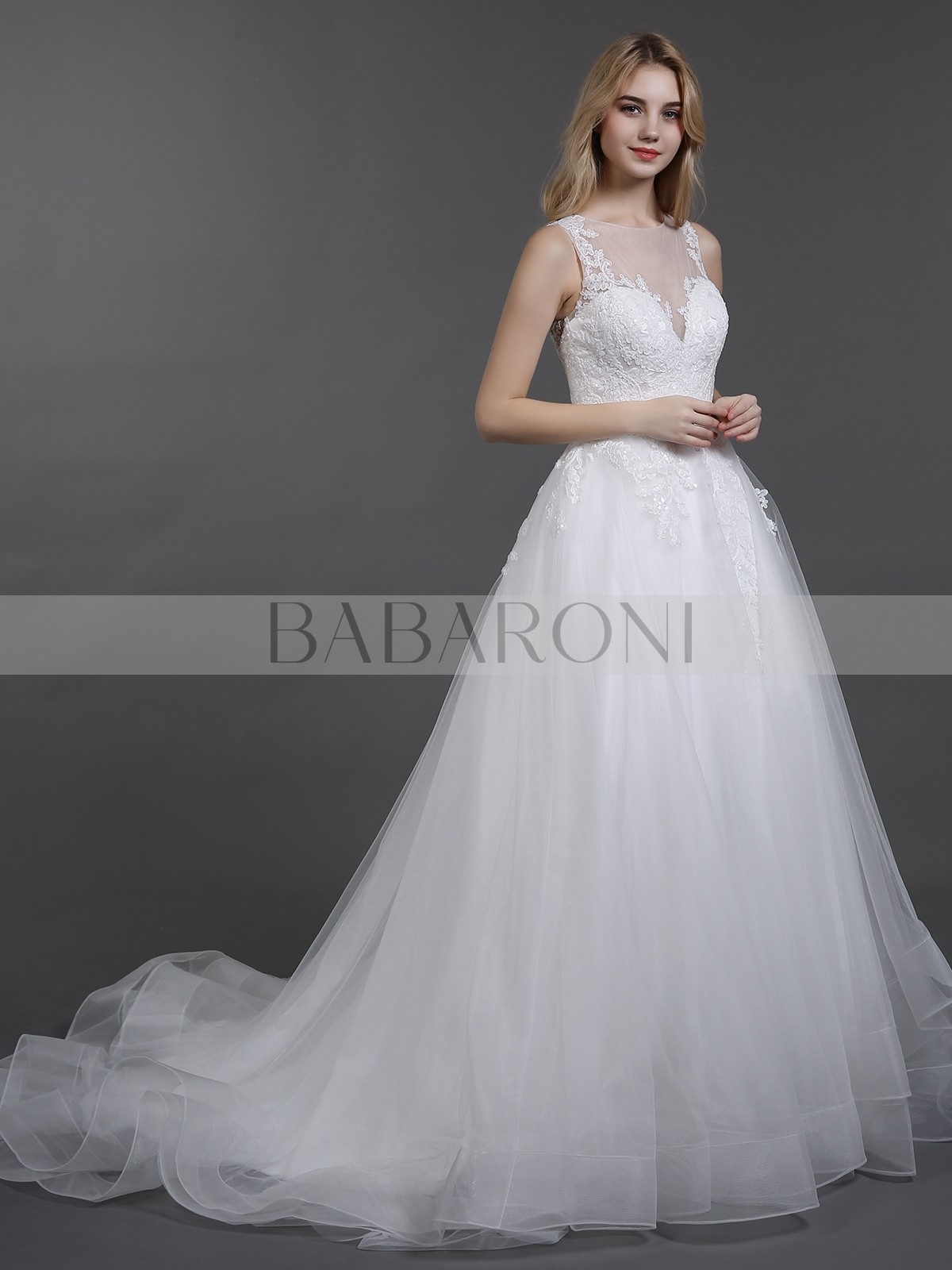 d72731ece6 Ivory Betsy Illusion Neck Lace and Tulle Wedding Dress