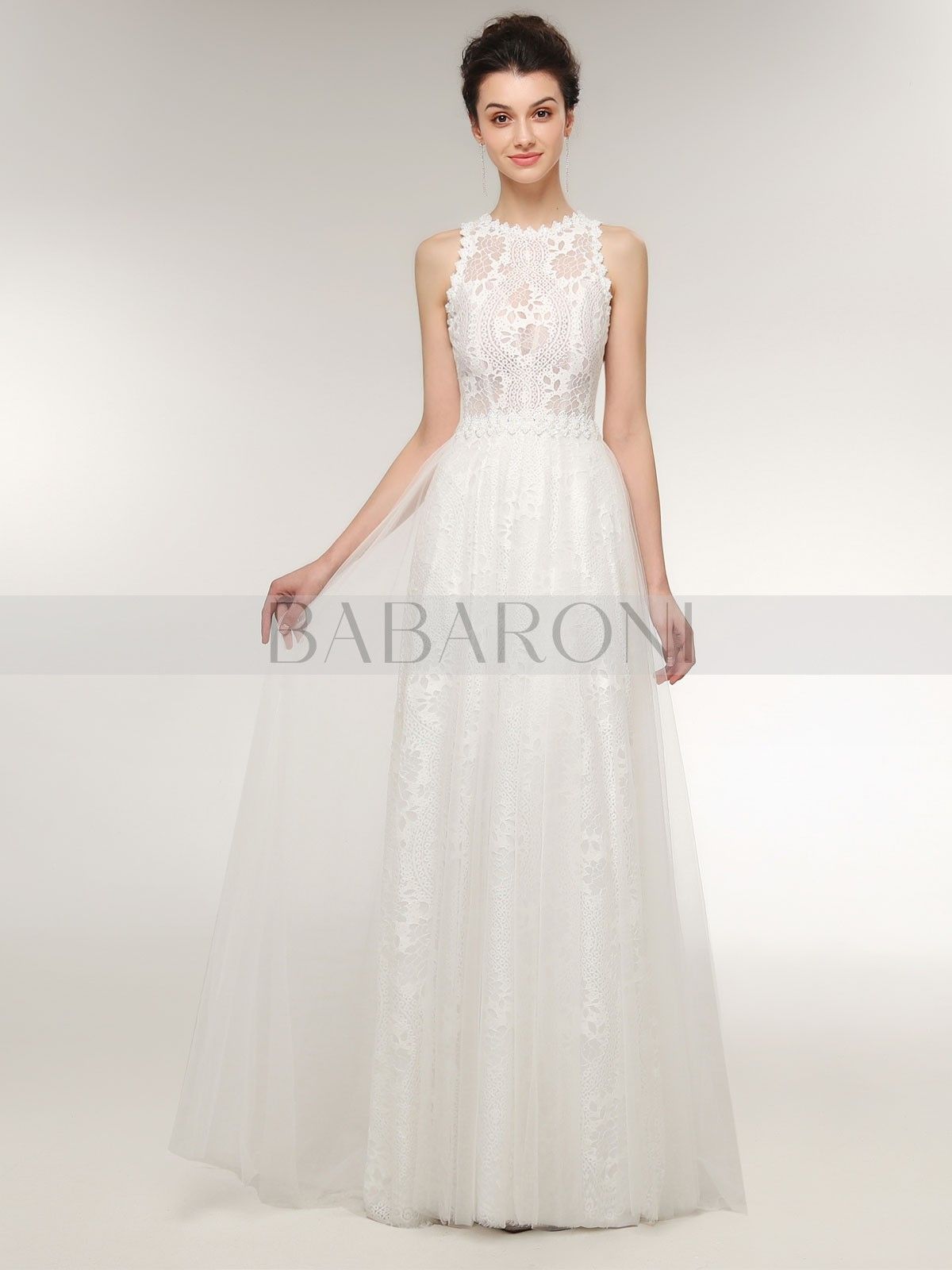 49e998d56ff Home · Wedding Dresses  Babaroni Catherine. A-line Lace Ivory Zipper Beaded  Sweep Brush Train V-neck Sleeveless Wedding. Loading zoom