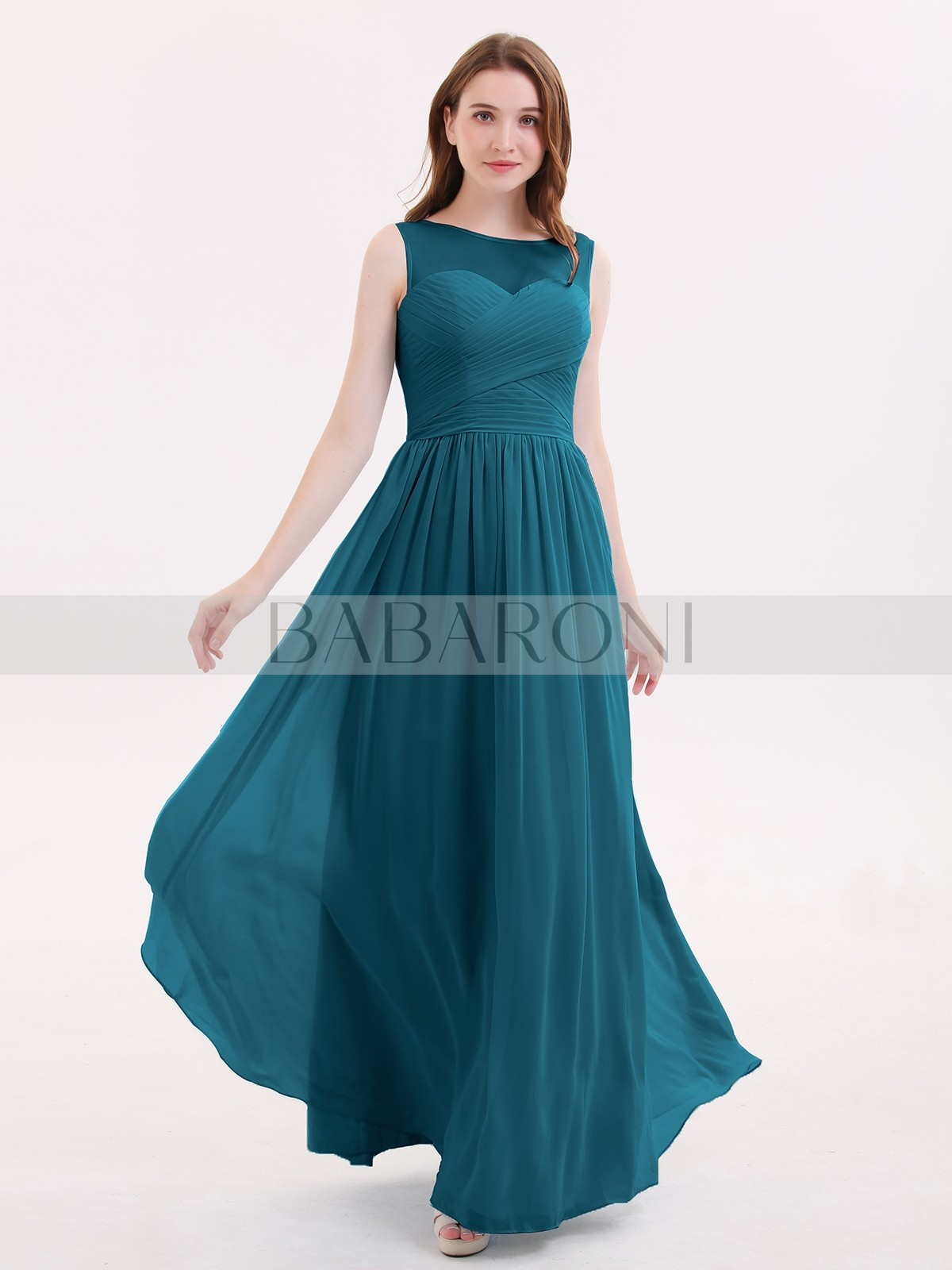 cbd76edfa63 A-line Chiffon Lilac Zipper Pleated Floor-length Illusion Sleeveless  Bridesmaid Dresses. Loading zoom