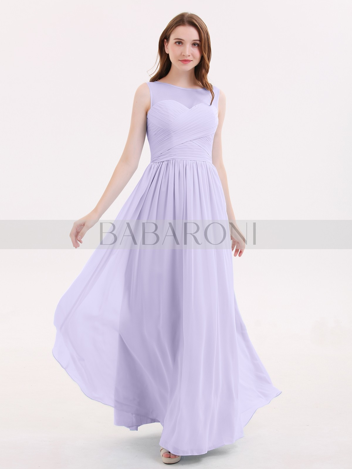 273e2a2ba00 A-line Chiffon Lilac Zipper Pleated Floor-length Illusion Sleeveless Long  Bridesmaid Dresses. Loading zoom