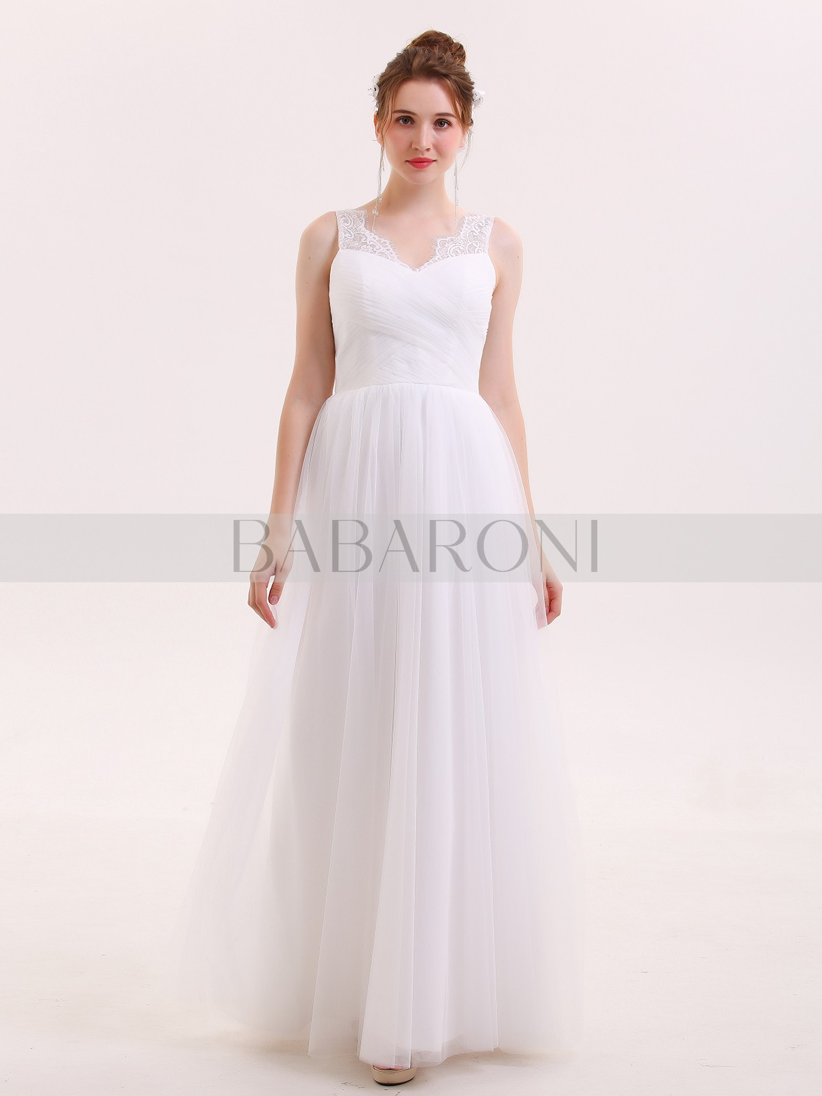 Sharon Tulle Full Length Dress With Lace Strap Babaroni
