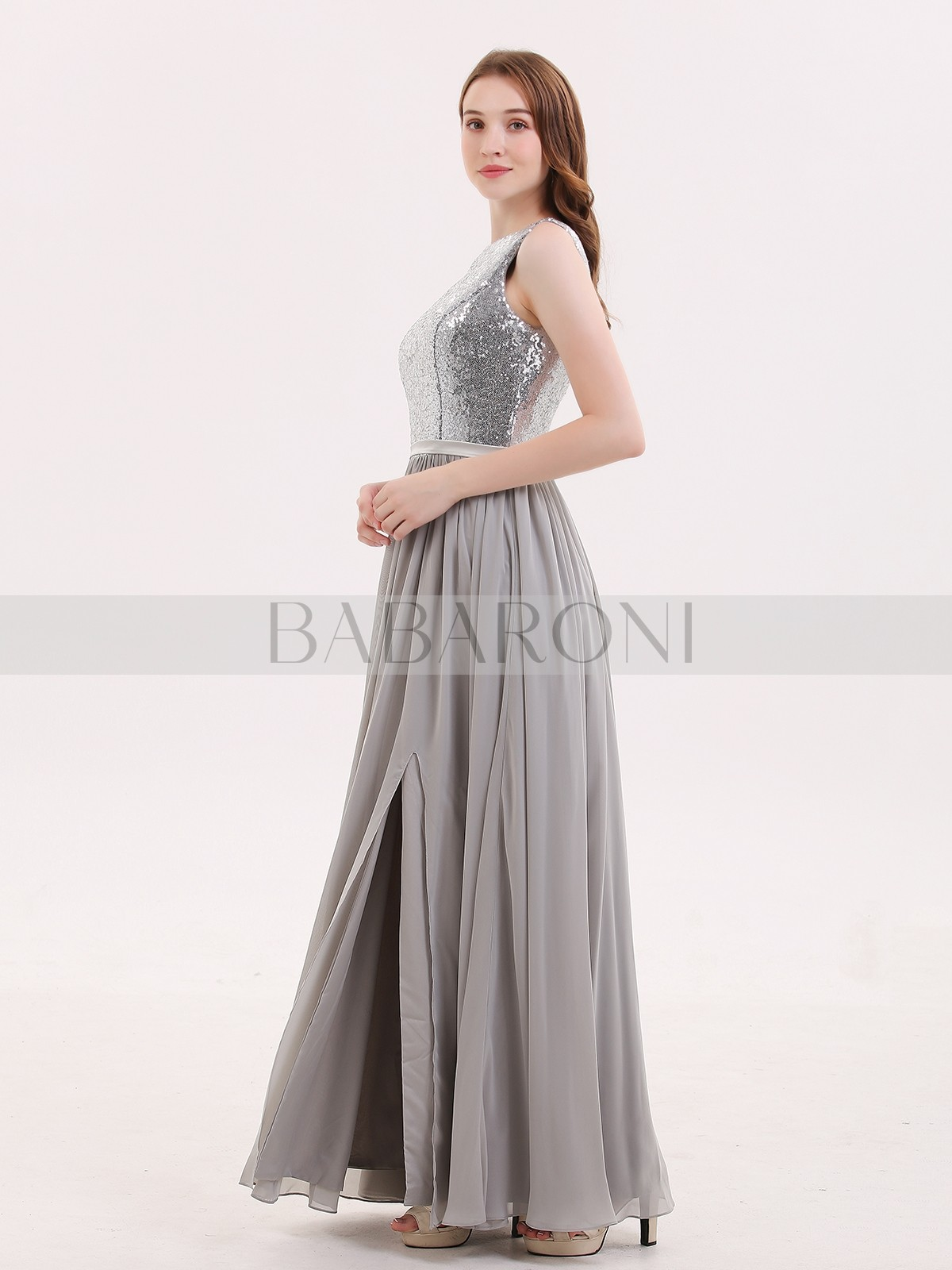 49c1a4aa08 Silver Ophelia Sequins and Chiffon Dress with Slit