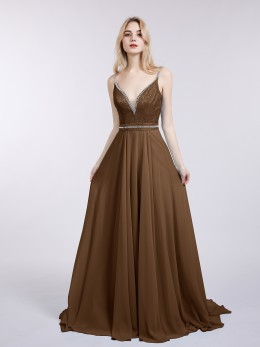 28615930db2 Brown Cassiopeia V Neck Long Chiffon Dress with Bow