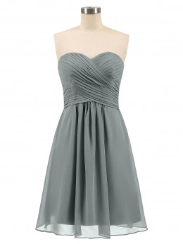 64f5e632a27 Steel Grey Samantha Short Strapless Bridesmaid Dress with Sweetheart ...