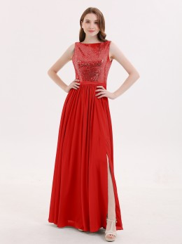 414f9418d8d Red Cassiopeia V Neck Long Chiffon Dress with Bow