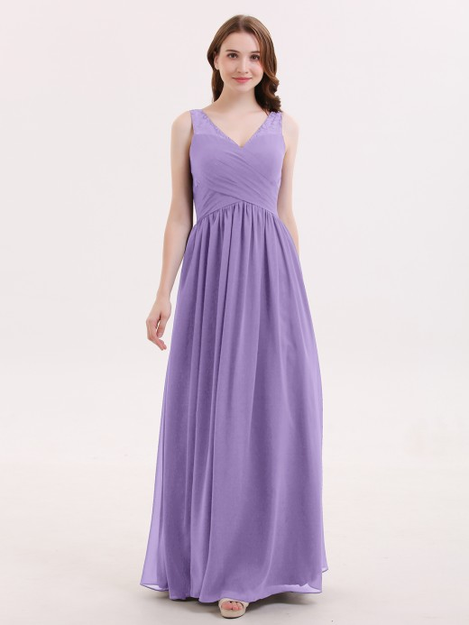 Babaroni Adalyn V Neck Chiffon and Lace Maxi Bridesmaid Gown