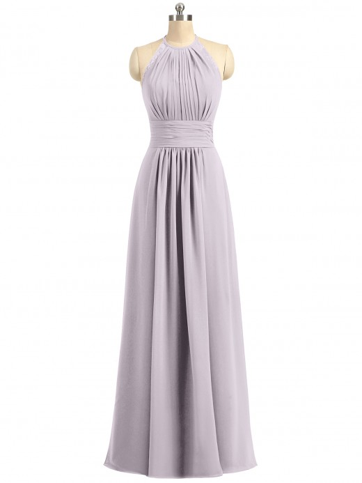 Babaroni Alaia Halter Chiffon Long Gown With Lace Strap