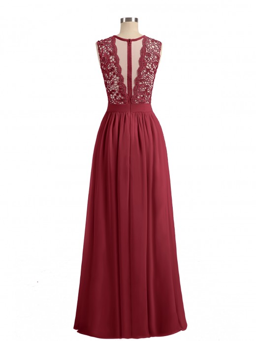Babaroni Aletta Illusion Neck Chiffon and Lace Dresses