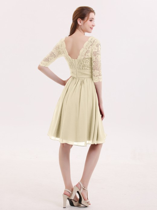 Babaroni Alexia Lace and Chiffon Short Dress with Half Sleeves