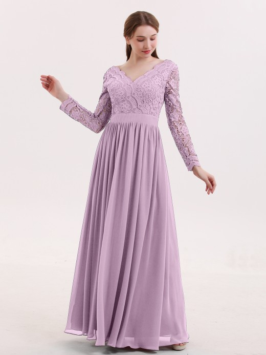 Babaroni Alina V Neck Lace and Chiffon Dress with Long Sleeves