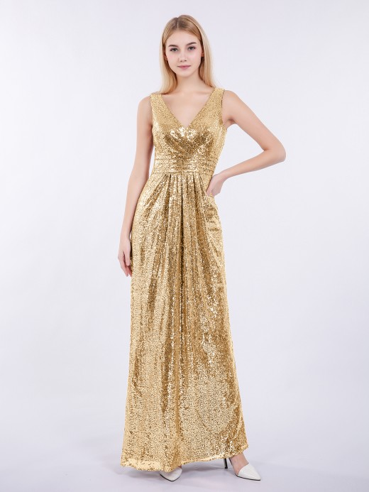 Babaroni Alma Sheath V-neck Sequins Long Dress
