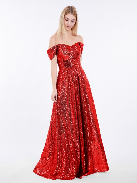 Babaroni Alva Long Sequins Dress with Off the Shoulder