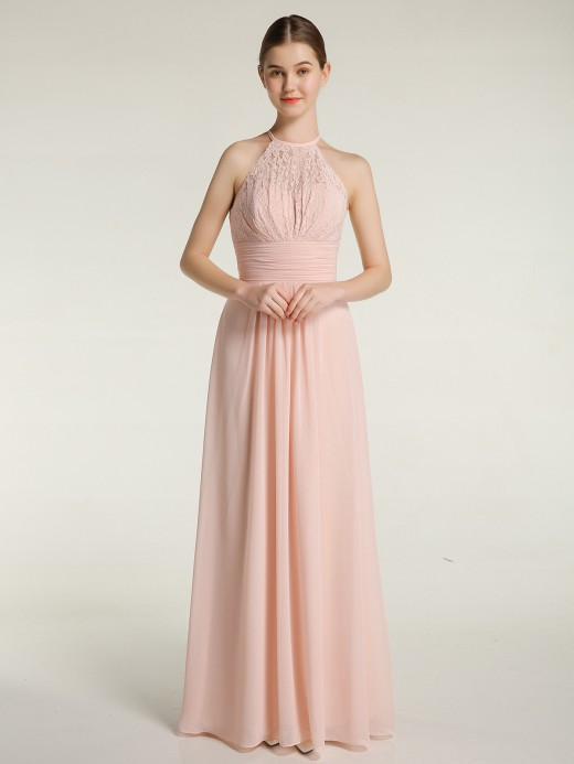 Babaroni Amanda Halter Chiffon And Lace Long Dresses