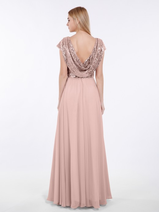 Babaroni Amaris Sequins Long Dress with Cap Sleeves