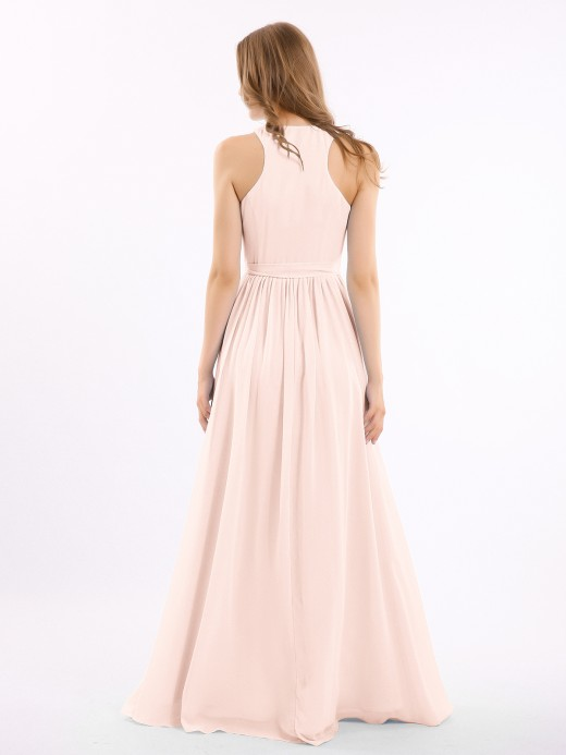 Babaroni Amelia Deep V Neckline Chiffon Dress with Sash Bow