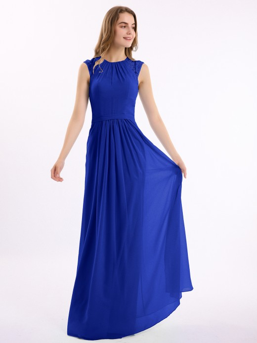 Babaroni Amoret Chiffon and Lace Open Back Full Length Dress