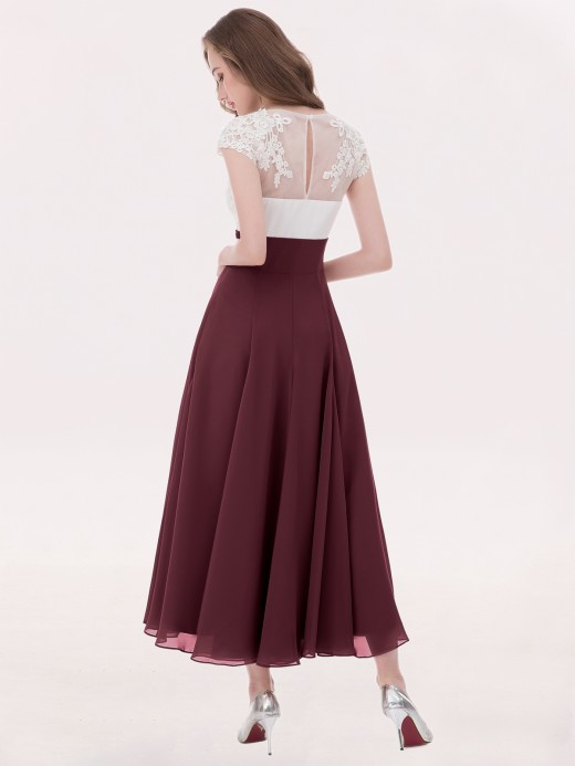Babaroni Anemone V Neck Chiffon Dress with Ivory Appliqued Bodice