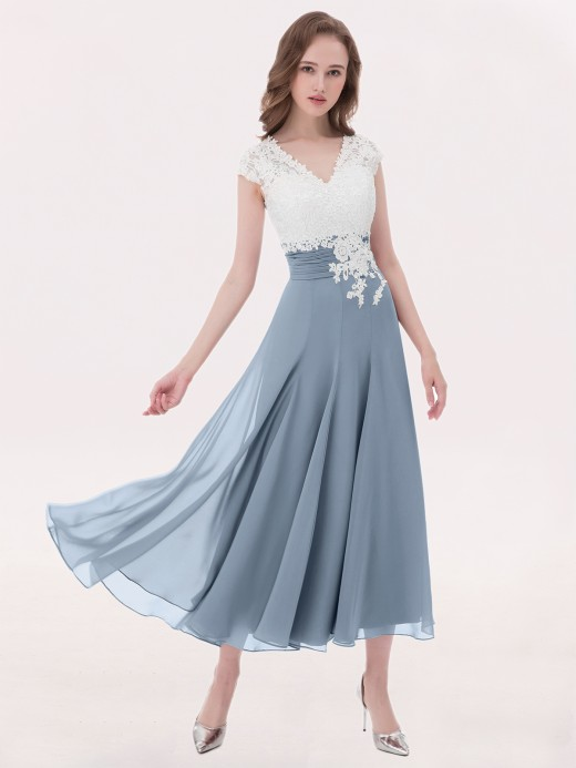 9771e8ccf4 Babaroni Anemone V Neck Chiffon Dress with Ivory Appliqued Bodice ...
