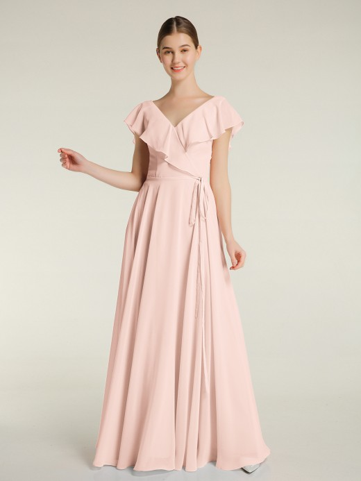 Babaroni Angel V-neck Chiffon Dresses with Cap Sleeves