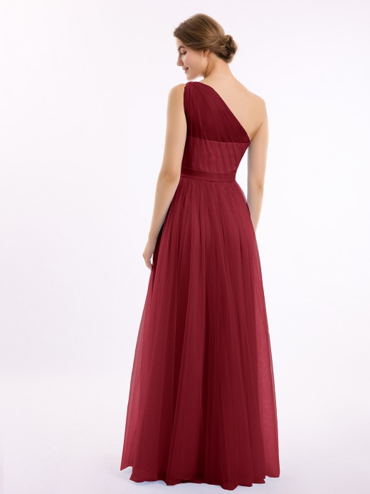 Angelina One Shoulder Mesh Wedding Party Bridesmaid Gown US4