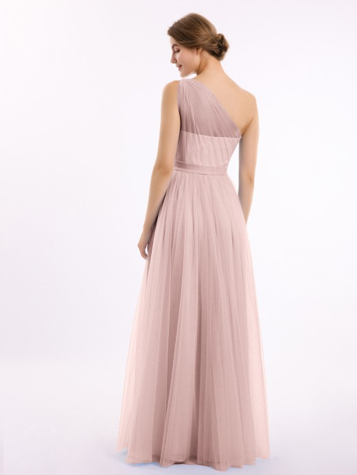 Angelina One Shoulder Mesh Wedding Party Bridesmaid Gown US8